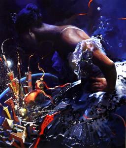 Noche mágica de la Musa. Óleo. 61x38 (Arco Iris Azul)
