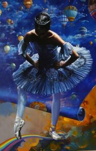 Voluntad utópica del sentido prometido. Óleo. 130 x 81 (Arco Iris Azul)